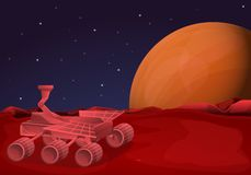 Mars rover concept banner, cartoon style royalty free illustration