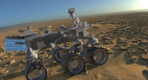 The Mars Rover on Mars 3D Illustration. 3D Illustration The Mars Rover on Mars Stock Images