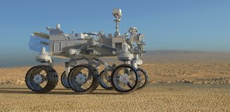 The Mars Rover on Mars 3D Illustration. 3D Illustration The Mars Rover on Mars Stock Photo