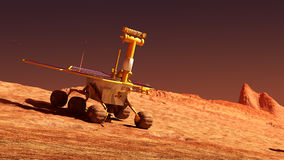 Mars rover on Mars Stock Photography
