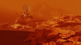Mars rover on red planet surface sitting on rock