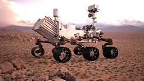 Mars Rover, robotic space autonomous vehicle on a deserted planet, rear view, 3D illustration. Mars Rover, robotic space autonomous vehicle on a deserted planet Royalty Free Stock Photos