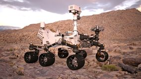 Mars Rover, robotic space autonomous vehicle on a deserted planet, side view, 3D illustration Stock Photography