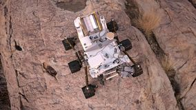 Mars Rover, robotic space autonomous vehicle on a deserted planet, top view, 3D illustration Stock Images