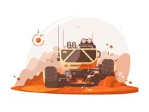 Mars rover for scientific research. Mars rover explores surface of planet Mars. Vector flat illustration Royalty Free Stock Image