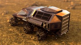 Mars Rover Space Travel. Cargo ares, 3D rendering Royalty Free Stock Photography