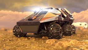 Mars Rover Space Travel. 3D rendering Stock Photo