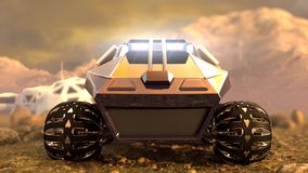 Mars Rover Space Travel. Front view. 3D rendering Royalty Free Stock Photos