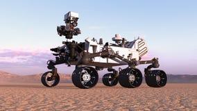 Mars Rover, véhicule autonome de l'espace robotique sur une planète abandonnée avec des collines à l'arrière-plan, 3D rendent illustration libre de droits