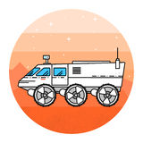 Mars rover on the white background. Human mission to Mars. For web design and application interface, also useful for infographics. Thin line icon. Vector Stock Images