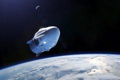 Mars 03, 2019: Rymdskepp för SpaceX besättningdrake i låg-jord omlopp Beståndsdelar av denna avbildar möblerat av NASA royaltyfri illustrationer