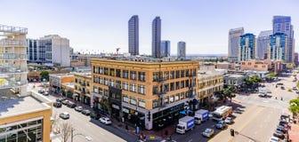 Mars 19, 2019 San Diego/CA/USA - stads- landskap i den Gaslamp fjärdedelen i i stadens centrum San Diego royaltyfria foton