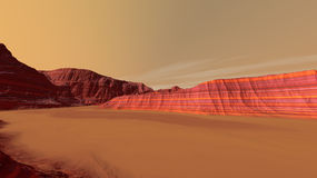 Mars Sand-filled Valley Floor Stock Image