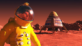 On mars. Scene of the astronaut on mars Royalty Free Stock Images