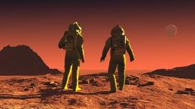 On mars. Scene of the astronaut on mars Stock Photo