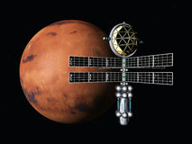 Mars with Space Probe Stock Images