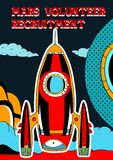 Mars space volunteer recruitment banner and poster royalty free illustration