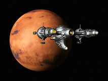 Mars with Spaceship Royalty Free Stock Photography
