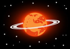 Mars and stars in space. Orange Mars with ring Stock Photos
