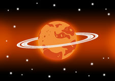 Mars and stars in space. Orange Mars with ring Stock Photo
