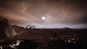 Mars Sunset. And landscape illustration with ruins and detailed landscape Royalty Free Stock Image