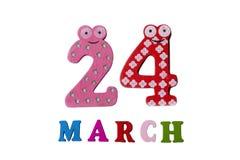 24 mars sur le fond, les nombres et les lettres blancs Photos libres de droits