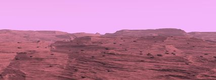 Mars surface landscape - 3D render Royalty Free Stock Photos