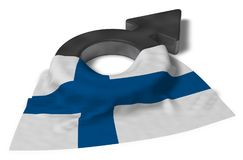 Mars symbol and flag of finland. 3d rendering Royalty Free Stock Photo