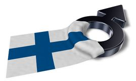 Mars symbol and flag of finland. 3d rendering Royalty Free Stock Images