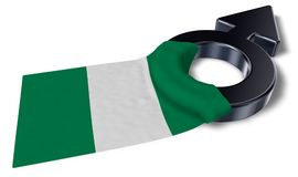 Mars symbol and flag of nigeria Stock Images