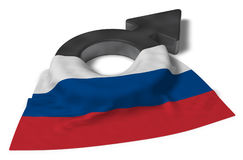 Mars symbol and flag of russia Royalty Free Stock Image