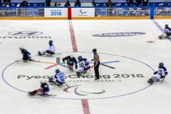 2018 mars 15th Peyongchang Paralympic lekar 2018 i södra Kore Arkivfoto
