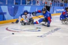 2018 mars 12th Peyongchang Paralympic lekar 2018 i södra Kore Royaltyfria Foton