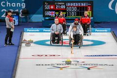 2018 mars 11th Pyeongchang Korea - krullande konkurrens: Stort B Royaltyfri Bild