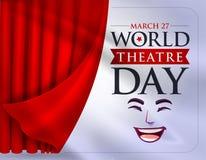 Mars 27, världsteaterdag, begreppshälsningkort, med gardiner och plats med rött v royaltyfri illustrationer