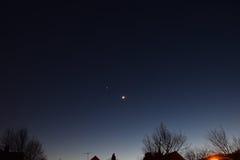 Mars, Vénus, lune New Jersey en janvier 2017 NJ Photo stock