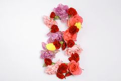 8 mars vacances Carte de voeux d'origami avec les fleurs de papier Jour heureux international du ` s de femmes Photo stock