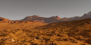 Mars valley. Panorama of a valley of the planet Mars Royalty Free Stock Image
