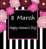 8 mars Vektorkort för internationell dag för kvinna` s vektor illustrationer