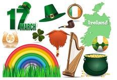17 mars Vektorsymbolsuppsättning för dag för St Patricks stock illustrationer