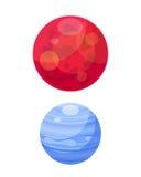 Mars and venera space planets flat vector illustration. Stock Photo