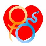 Mars and Venus astrological symbols of love. vector illustration Stock Photos