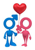 Cartoon Couple. Mars and Venus cartoon symbols standing together and holding heartshaped balloon. 3D rendered image, on white background royalty free illustration