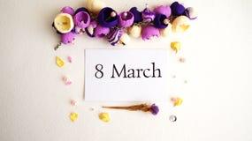 Mars 8, vykort Internationell dag för kvinna` s Arkivfoto