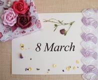 Mars 8, vykort Internationell dag för kvinna` s Arkivbilder