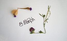 Mars 8, vykort Internationell dag för kvinna` s Royaltyfri Fotografi