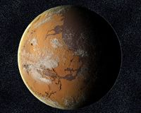 Mars with water Royalty Free Stock Image
