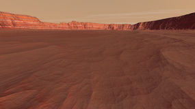 Mars Windblown Red Sands and Mesa Stock Images