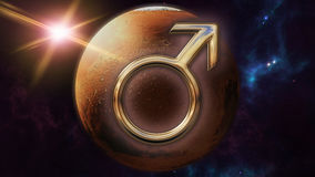 Mars zodiac horoscope symbol and planet. 3D rendering. 3D rendering image of a brilliant gold Mars zodiac horoscope symbol. An astrology sign on the foreground Stock Photo
