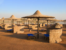 Marsa Alam beach. With umbrellas and a blue sky Royalty Free Stock Photo